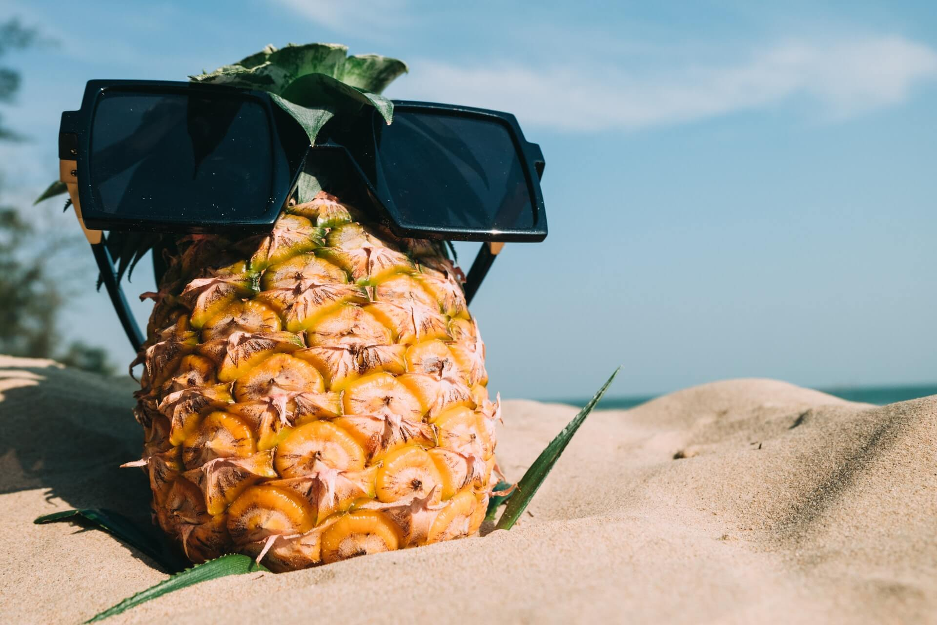 Pineapple with Sunglass Chilling Out at the Beach